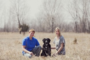 Engagement - Sitting in a field at Lake Manawa