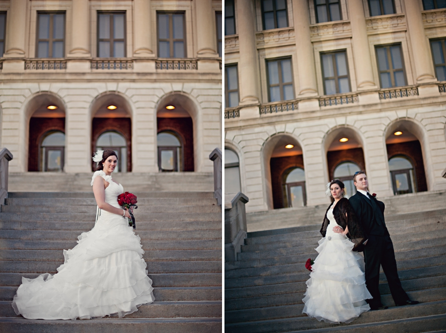 Wedding Portraits on the stairs of Central High School in Omaha