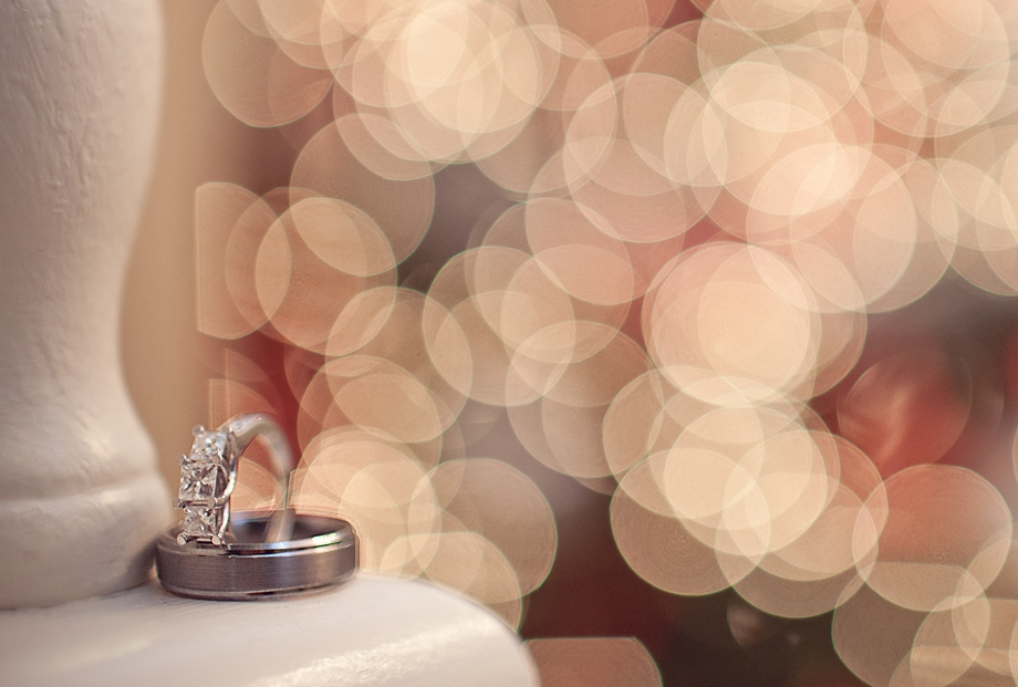 Wedding ring details with large bokeh