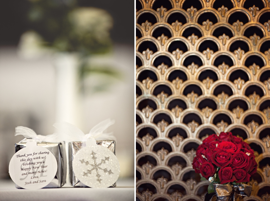 Wedding details. flowers and table favors.