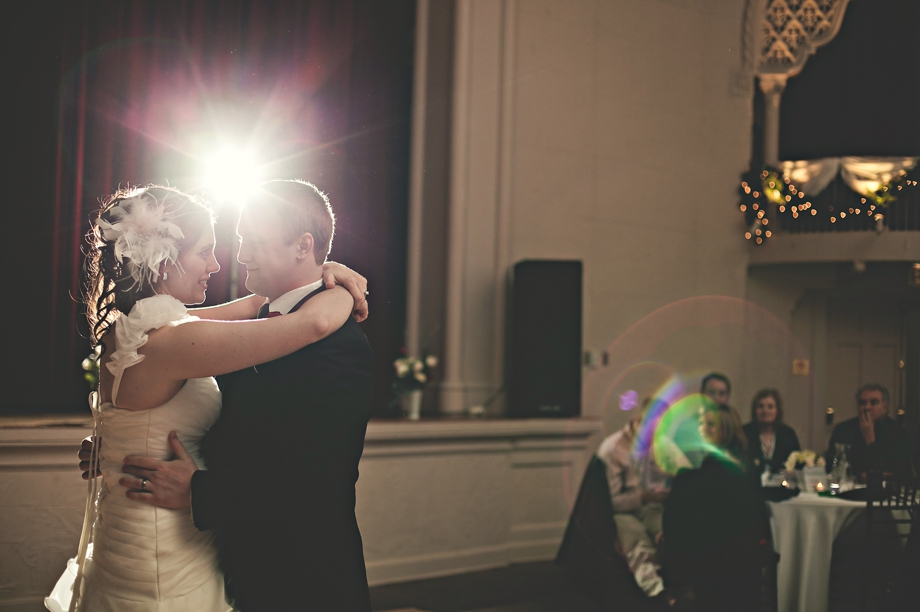 bride and groom first dance in the scoular ballroom