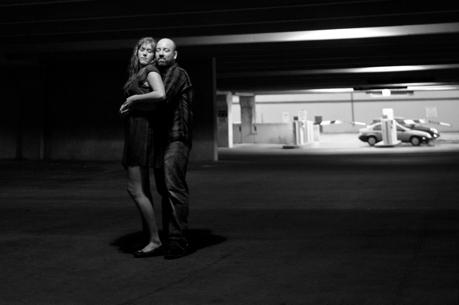 Engagement Photo in a parking garage