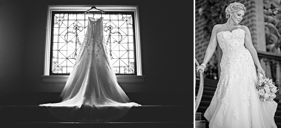 Dress hangs in window while bride looks stunning in Lincoln Nebraska