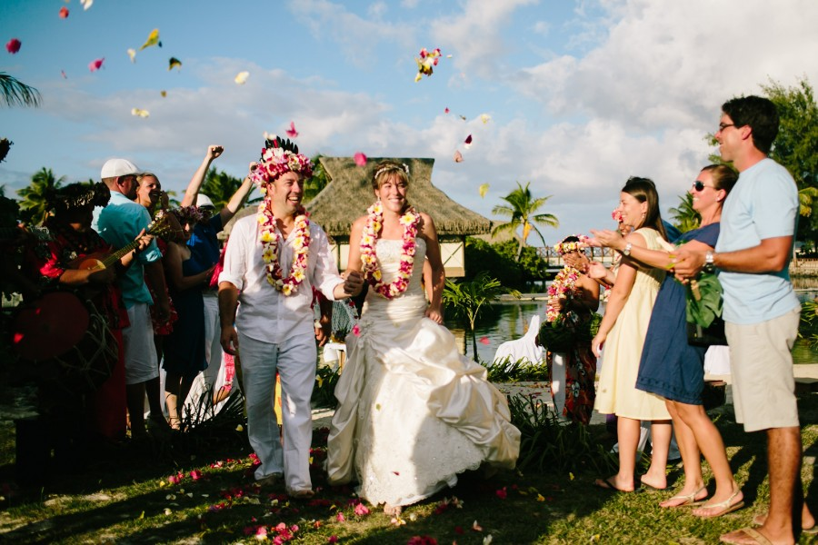 Bride and Groom exit the ceremony on the island of Moorea