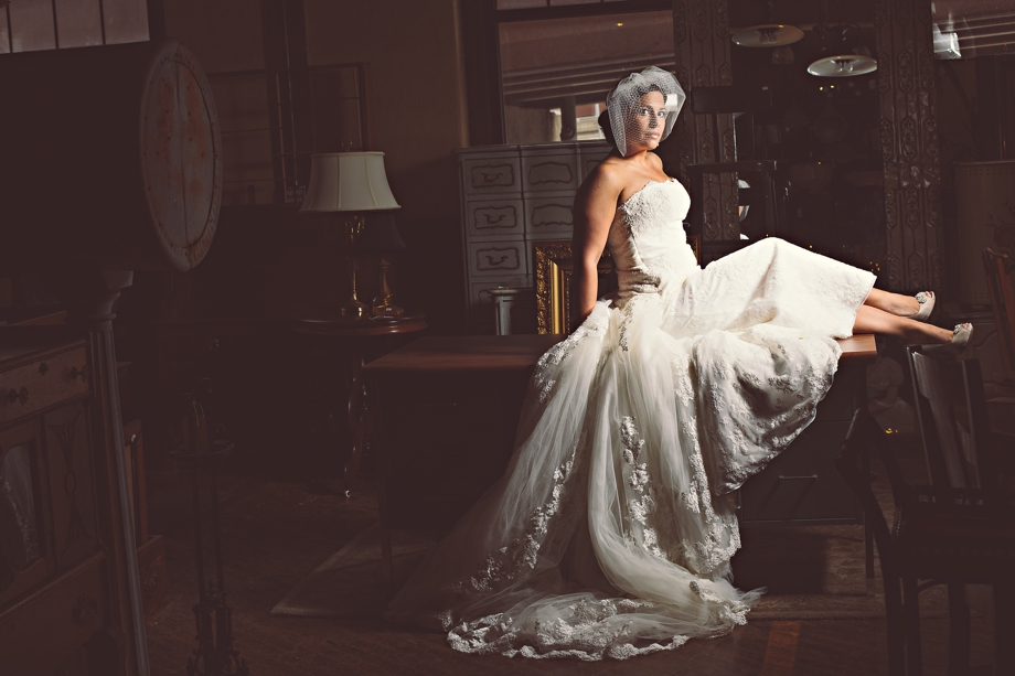 Bridal Portrait in the West End Architectural and Salvage building