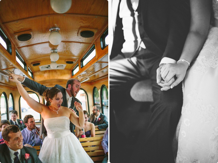 riding on the trolley - Wedding Photography Omaha Henry Doorly Zoo - Melissa and Todd