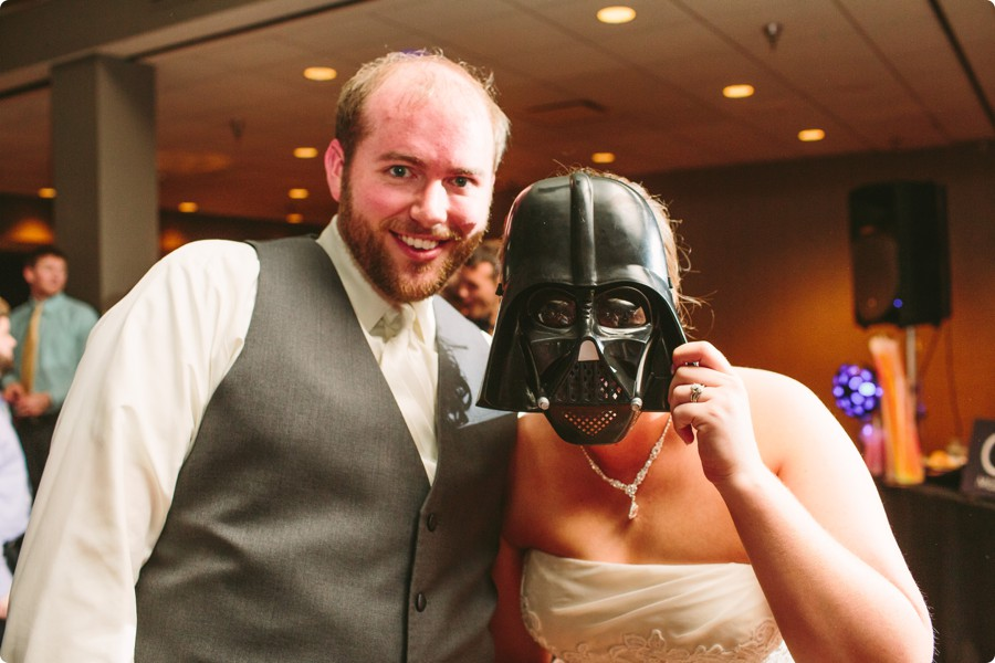 Darth Vader Mask - Wedding Photography Omaha Henry Doorly Zoo - Melissa and Todd